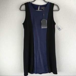 Anthropologie Dresses - Anthropologie NWT Leather Colorblock Knit Sheath